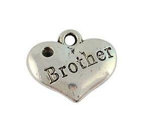 30pcs Tibet Silver Alloy Pendants DIY Brother Heart Charms Jewellery 16x14mm