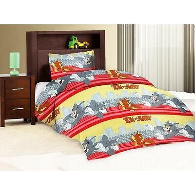 Pure Cotton Single Bed Sheet With 1 Pillow Cover - Tom Red