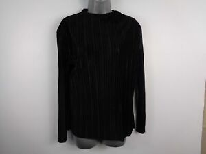 WOMENS-VERY-BLACK-RIBBED-KNITTED-JUMPER-SWEATER-PULL-OVER-SIZE-12