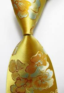 New-Classic-Floral-Gold-Yellow-Blue-JACQUARD-WOVEN-100-Silk-Men-039-s-Tie-Necktie