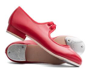 Girls Ladies Red PU Low Heel Tap Dance
