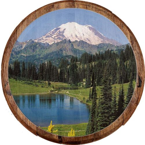 Details about  /Whiskey Barrel Head White Cap Mountain Scenic Pine Forest Lake /& Park Wall Art