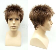 Lightest Brown Short Spiky Style Mens Wig Synthetic Costume Fashion Hair
