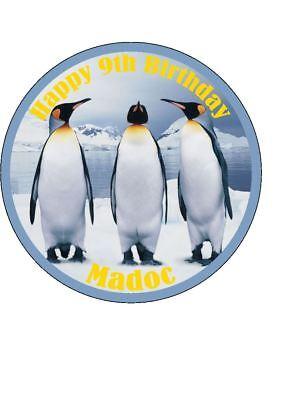 Strange Personalised Penguin Birthday Cake Topper Easy Peel Icing Round Funny Birthday Cards Online Aeocydamsfinfo