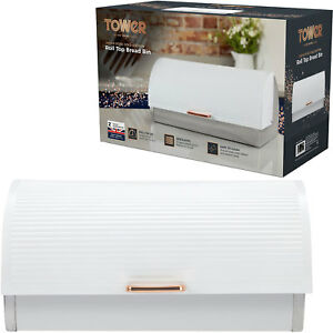 Tower-T826000RW-Linear-Roll-Top-Bread-Bin-White-amp-Rose-Gold-Stainless-Steel