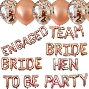5 x Team Bride Rose Gold Confetti Balloons Helium Hen Party Balloons Decoration
