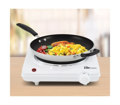 Elite Cuisine ESB-301F Single Electric Flat Cast Iron Heating Plate Burner P...