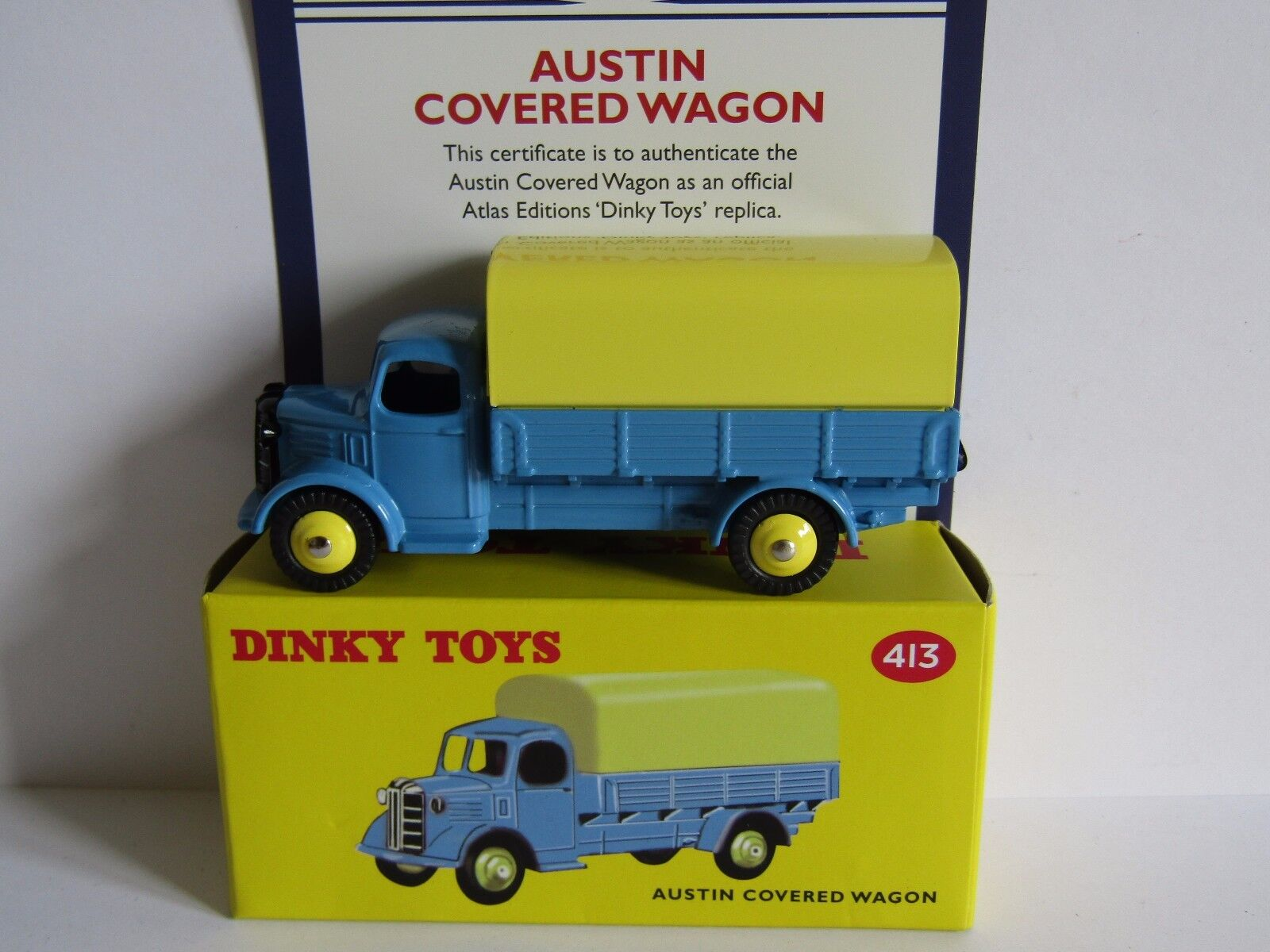 ATLAS DINKY AUSTIN COVERED WAGON blueE 413 UK ISSUE
