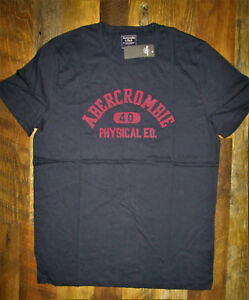 NWT-Abercrombie-amp-Fitch-Men-039-s-L-Navy-Blue-Logo-Tee-Short-Sleeve-100-Authentic