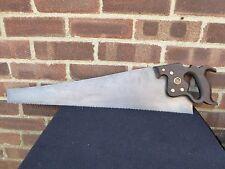 "Vintage Disston Phila 26"" Blade 6 TPI Wooden Handle Saw Tool"