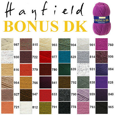 Hayfield by Sirdar Bonus DK Double Knitting 100g Wool Yarn ALL COLOURS