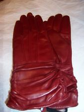New Long Ruched Leather Gloves,Medium,Red