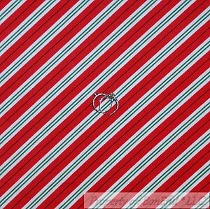 White /& Green Candy Canes All Over 100/% Cotton Fabric Blue with Red