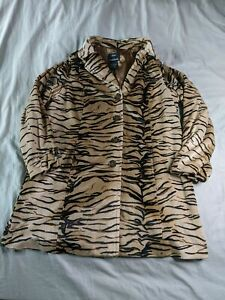 Dennis-by-Dennis-Basso-Women-039-s-Button-Tiger-Stripe-Coat-AB3-Multicolor-Large