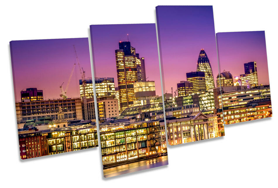 City of London Financial District MULTI CANVAS WALL ART Framed Panel