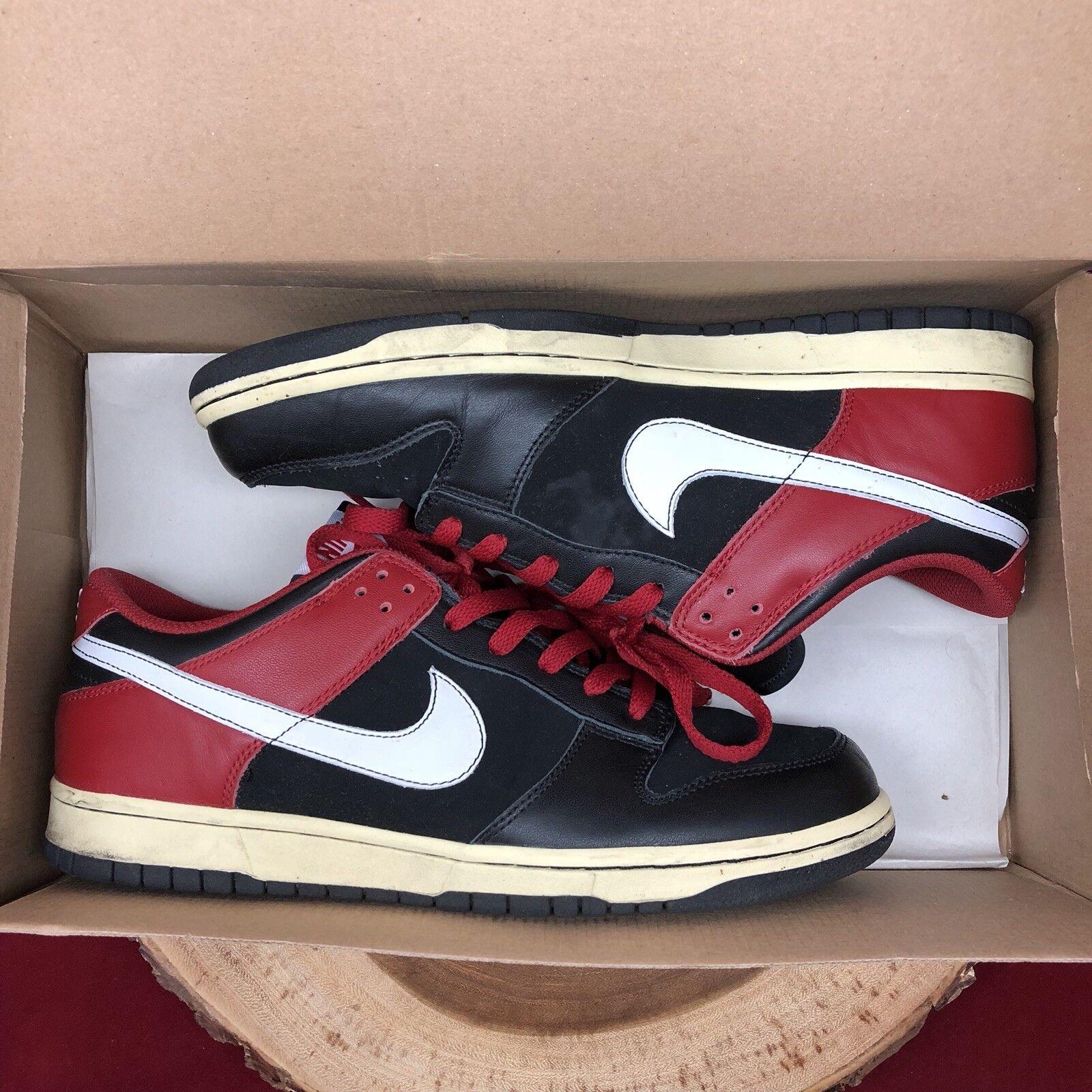 Nike Dunk Low CL Jordan Bred Black Red Size 10.5 304714 016 VI III I XI SB