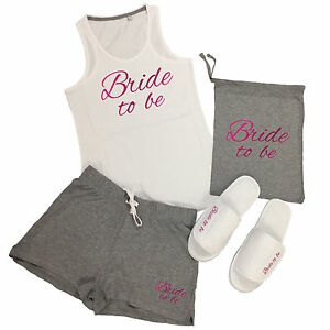 7417ff7356 Wedding Vest Top   Shorts Pyjamas Set Hen Do Party Night Bride To Be ...
