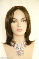 Light Chestnut Brown Brunette Medium Short Straight Skin Top Wigs