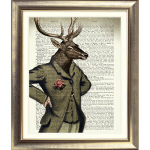 DICTIONARY-ART-PRINT-ON-ORIGINAL-ANTIQUE-BOOK-PAGE-STAG-Animal-DEER-Old-Picture