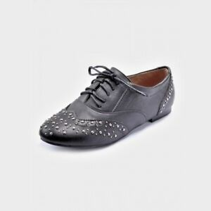 Ladies Black Brogue Shoes made by