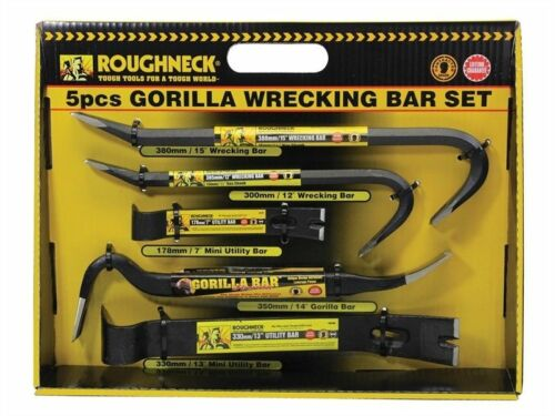 Heavy Duty 5pc Roughneck Gorilla Wrecking Bar Pry Bar Crowbar Set Kit New