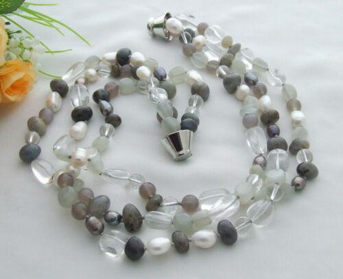"""3 rangées de Culture Blanc Perle Labradorite Agate Moonstone Collier 19/"""""""