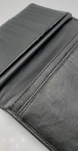 Long Cow Genuine Leather 23 Slots Credit Card Holder with Hide Money Tall Wallet