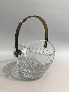Designer Kristallglas Korb/Schale mit Silber Henkel 925er Sterling Eiskübel?