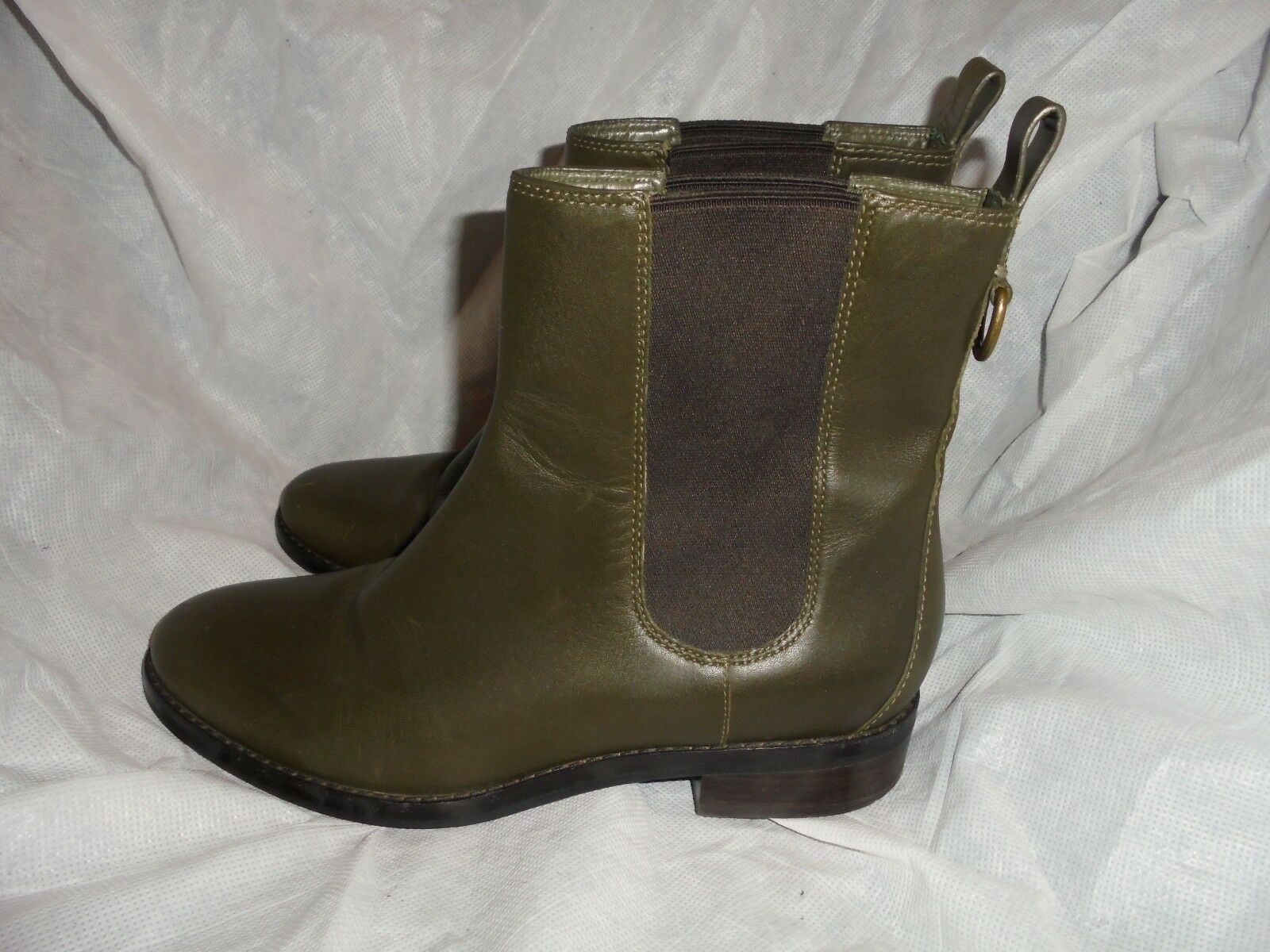 COLE HAAN donna OLIVE LEATHER PULL ON ANKLE avvio Dimensione EU 38 US 8 VGC