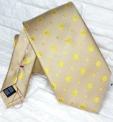 Cravatta Seta Beige E Oro Cuciture Rosse Retro Made In Italy Marimoni / Business Scelta Materiali