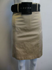 RED-VALENTINO-tan-faux-raw-silk-pleat-bow-belted-A-line-skirt-sz-40-4