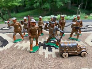 11-Antique-World-War-I-Doughboy-Metal-Toy-Soldiers-and-One-Military-Truck