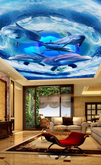 3D Blauer Delphin 589 Fototapeten Wandbild Fototapete BildTapete DE Lemon