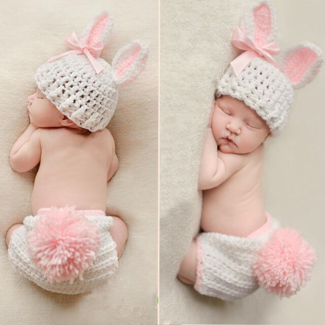 Newborn Boys Girls Cute Crochet Knit Costume Baby Photo Photography Outfits Prop