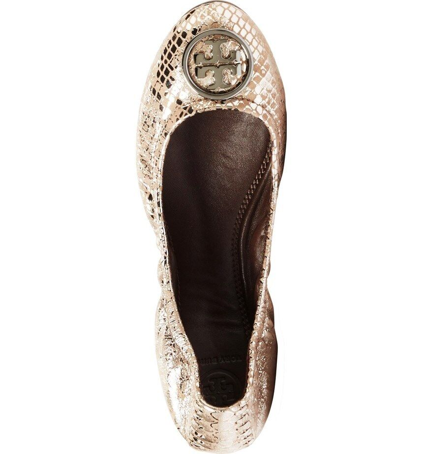 New  Tory Burch Heidi Pewter Snake Print Leather Ballet Flat 6.5
