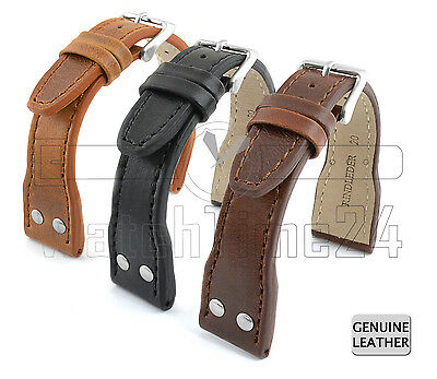 WATCH STRAP PILOT GENUINE LEATHER F. IWC 18 MM, 20 MM, 22 MM, 24 MM US