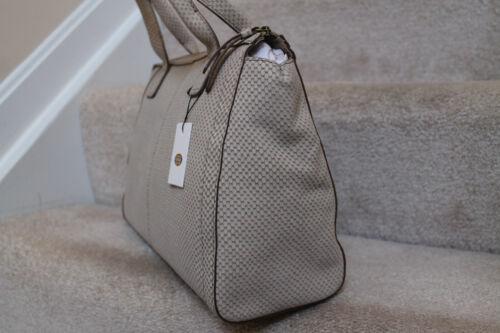 New Fossil Genuine Suede Leather Beige /& TanTop Zip Satchel Bag NWT $218 #8