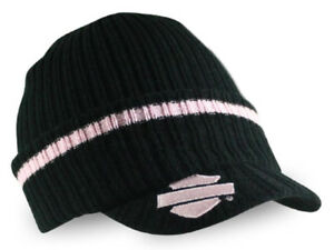 8e54fa39f1536 Image is loading Harley-Davidson-Pink-and-Black-Ladies-Knit-Cap-