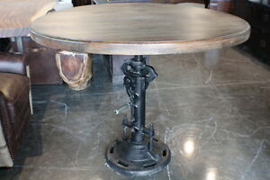 48 Quot Round Dining Table Crank Industrial Old Solid Mango