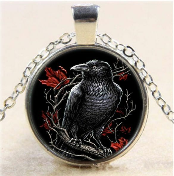 Black Raven Photo Cabochon Glass Tibet Silver Chain Pendant  Necklace