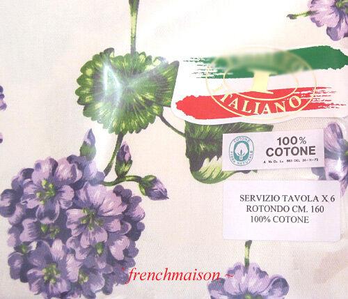 Italien Pays Violet Fleur Vert Rond Nappe Acheté en Italie + 6 serviettes