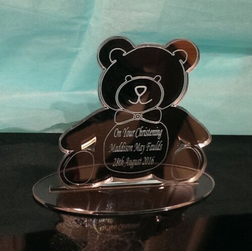 Christening Laser Engraved Acrylic Mirror Teddy Bear Gift Keepsake Personalised