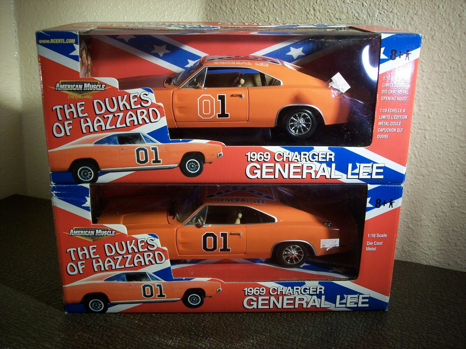 Ertl American Muscle DUKES OF HAZZARD General Lee Race & Show Pair 1 18 Scale