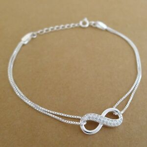 Genuine-925-Sterling-Silver-With-Crystal-CZ-Infinite-Forever-Infinity-Bracelet