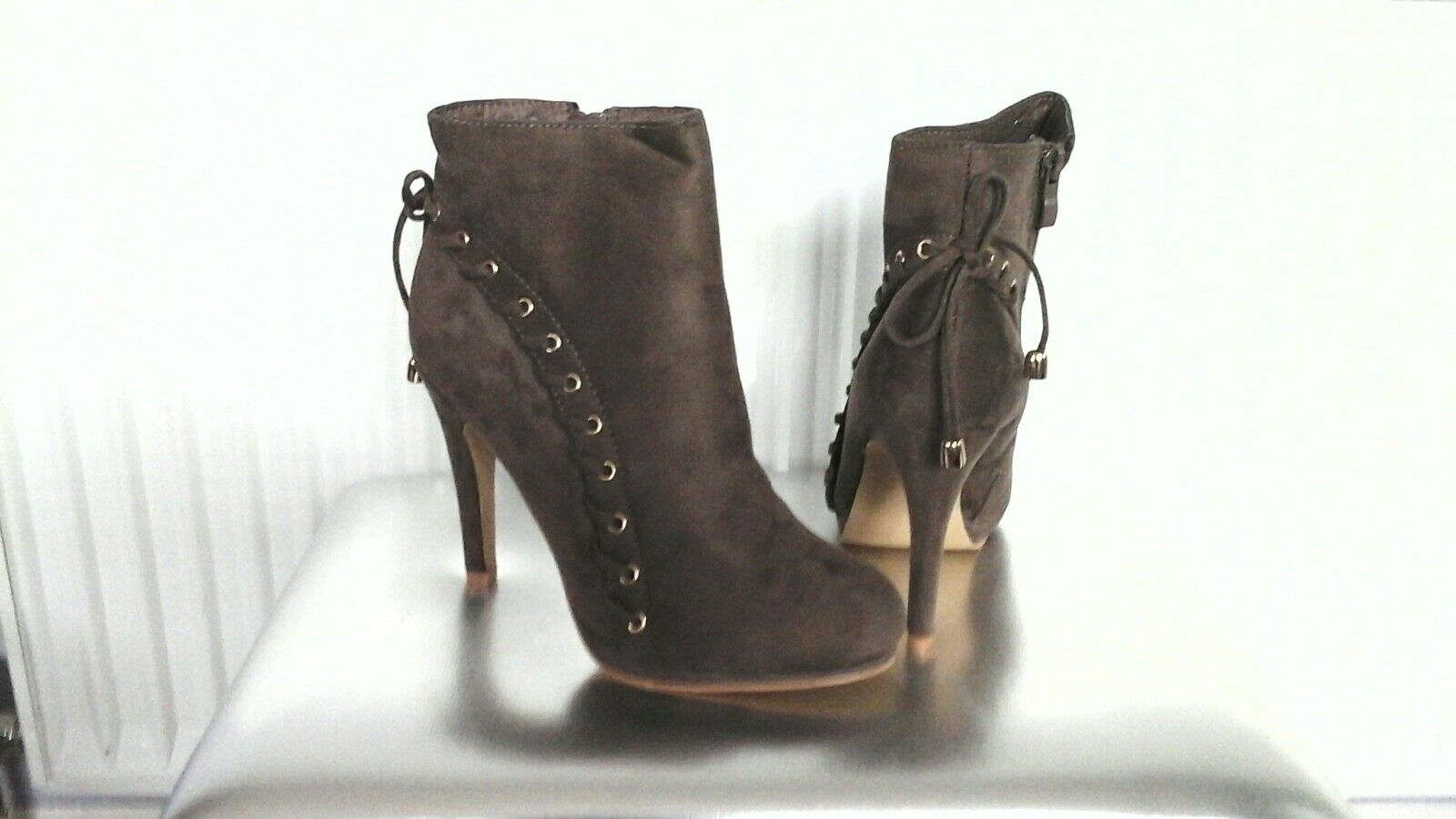 Stunning Brown Faux Suede Ankle Boots Size 6 EU 39