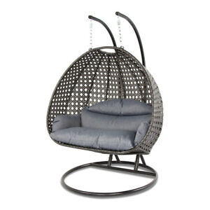 Pleasing Details About Island Gale 2 Person Outdoor Patio Rattan Hanging Wicker Swing Chair Egg Swing Theyellowbook Wood Chair Design Ideas Theyellowbookinfo