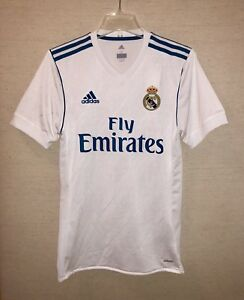 A imagem está carregando Adidas-Real-Madrid-2017-18-Home-Futebol-Camisa- c10802b4958d3