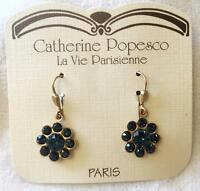 Catherine Popesco Dainty Flower Earrings Rt $38 Midnight Blue Crystal Petite