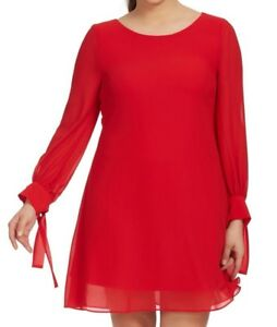 Details about Taylor Dresses Chiffon Tie Sleeve Shift Dress In Crimson Red  Plus Size 14W