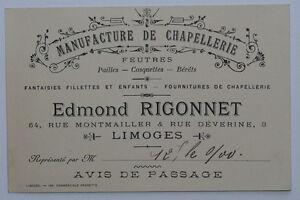 Carte De Visite 1900 Chapellerie Rigonnet A Limoges